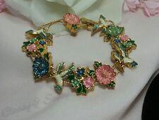 Vintage Estate Gold Pink Blue White Spring Bird Flower Enamel Slide Bracelet