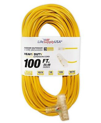 12//3 75ft SJTW 15A 125V 1875W Lighted End Black Heavy Extension Cord 75 Feet