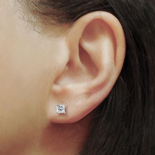 1.05Ct Princess cut Solitaire Stud Earrings Lab Diamond 14k White Gold Screwback