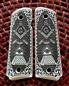 1911-custom-engraved-ivory-scrimshaw-grips-Masonic-All-Seeing-Eye-Scroll