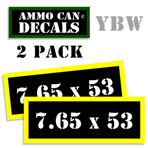 "7.65x53 Ammo Label 7.65 x 53 Decals Box Stickers decals 2 Pack BLYW 3/"""