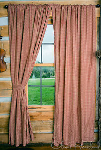 Image Is Loading Country Curtains Red Tan Gingham Check 84 Inch