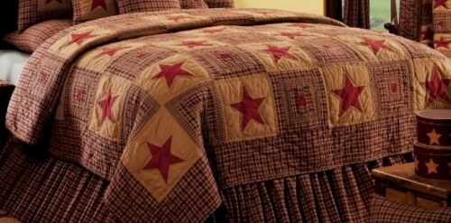 VINTAGE STAR WINE 3pc Full Queen QUILT SET IHF PRIMITIVE PIECED COUNTRY RED