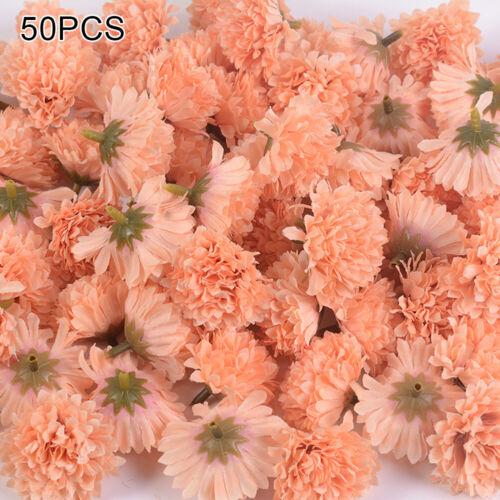 50pk Artificial Flower Hydrangea Fake Flowers Heads Wedding Bouquet Valentines