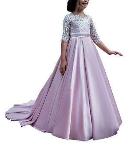 Pink Flower Girl Dress Wedding Graduation Recital Bridesmaid Formal Party Dance