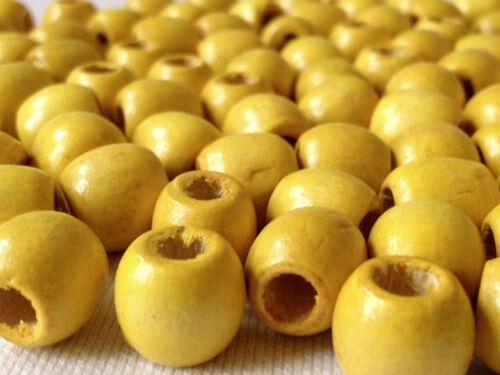 100 x jaune vif couleur bois rond perles 12 mm = W0027