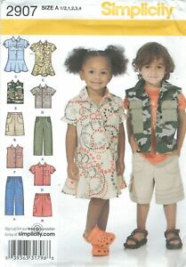 Simplicity-2907-Toddlers-039-Pants-Shorts-Dress-Shirt-1-2-to-4-Sewing-Pattern