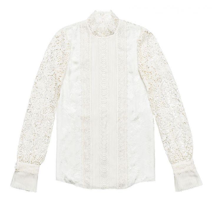 NEW ERDEM x H&M Jacquard SILK Blouse CROCHET LACE White IVORY 2 4 10 SHIPS TODAY