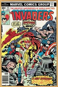 The-INVADERS-12-VF-Marvel-Comics-1976-1st-SPITFIRE-Capt-America-Human-Torch