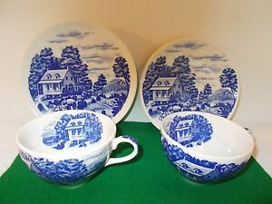 Antique Homestead Japan Nasco Cups (2), Saucer, Plate, Handpainted, Blue & White