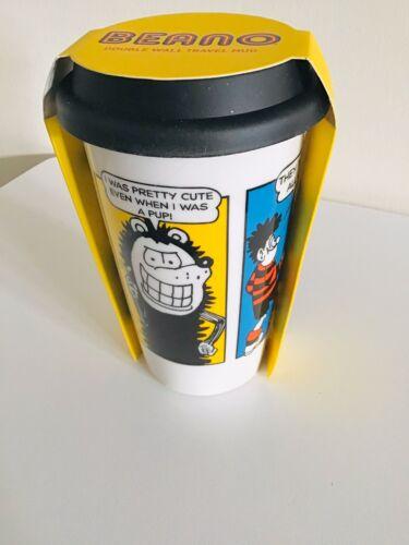 DRINKS TO GO BEANO GENUINE DENNIS MENACE GNASHER DOUBLE WALL CERAMIC TRAVEL MUG