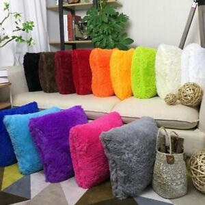 1Pc Fluffy Plush Faux Fur Throw Pillow Cover Cushion Case Solid Soft Sofa Decor