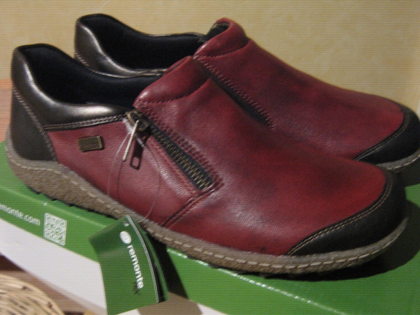 Remonte Rieker rot braun Leather Water Resistant Casual Winter schuhe Side Zip