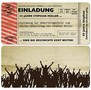 Das Bild Wird Geladen Einladungskarten Fuer Geburtstag Eintrittskarte Ticket  Karte Einladung