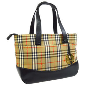 BURBERRY House Check Hand Bag Purse Black Brown Canvas Leather Authentic 32656