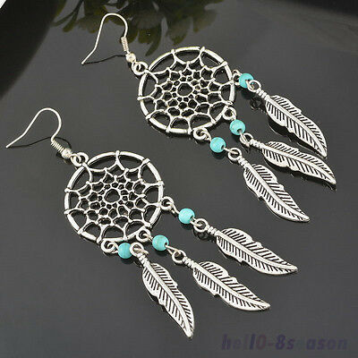1Pair Womens Retro Tibetan Silver Ear Dreamcatcher&leaf&Beads Earrings Gift NEW