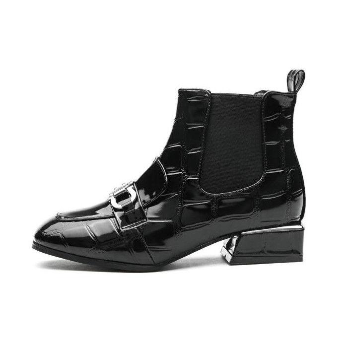 botas bikers negro brillante cómodo botas botas botas militares mujer talón 3 cm 1479  barato y de alta calidad