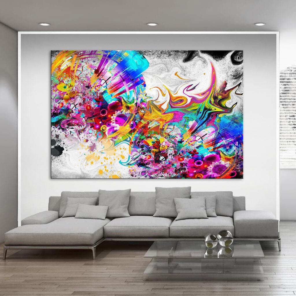 Abstraite peintures murales murales murales Coloré Couleur Toile Art Images Art pression XXL d1158   Matériaux De Grande Qualité  1eb525