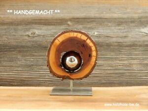 Skulptur-Baumscheibe-Kunstobjekt-abstrakt-Deko-Holz-Edelstahlkugel-modern-Kunst