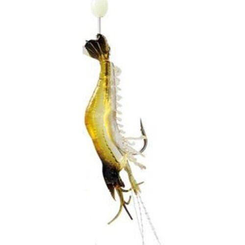 1x pêche crevettière Simulation Soft Prawn Lure crochet Tackle appât de pêche en mer leurres