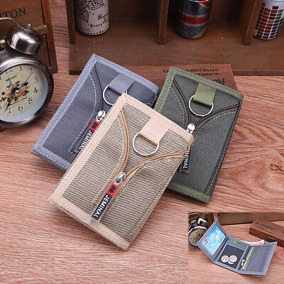 New Fashion Mens Boys Canvas Zip Wallet Credit Card Holder TriFold 5 Colours