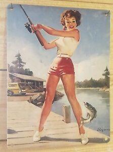Vintage-fishing-pin-up-girl-metal-sign-classic-car