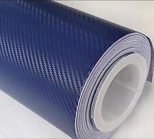 New 3D NAVY BLUE Carbon Fibre Vinyl Wrap Sheet Film Sticker 30cm x 1.52m