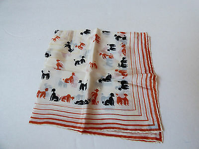 VTG Poodle Silk hand screened hand rolled Pocket Scarf Tie Hanky Handkerchief