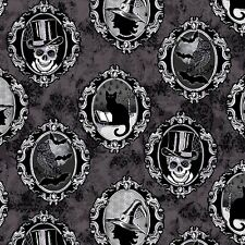 HALLOWEEN SKULL FRAMES w/METALLIC ON GRAY FABRIC MATERIAL, From Henry Glass NEW