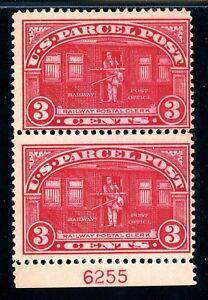 USAstamps-Unused-FVF-US-Parcel-Post-Plate-Number-Pair-Scott-Q3-OG-MNH