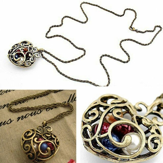 Fashion Retro Long Bead Jewelry Sweater Chain Hollow Heart Pendant Necklace