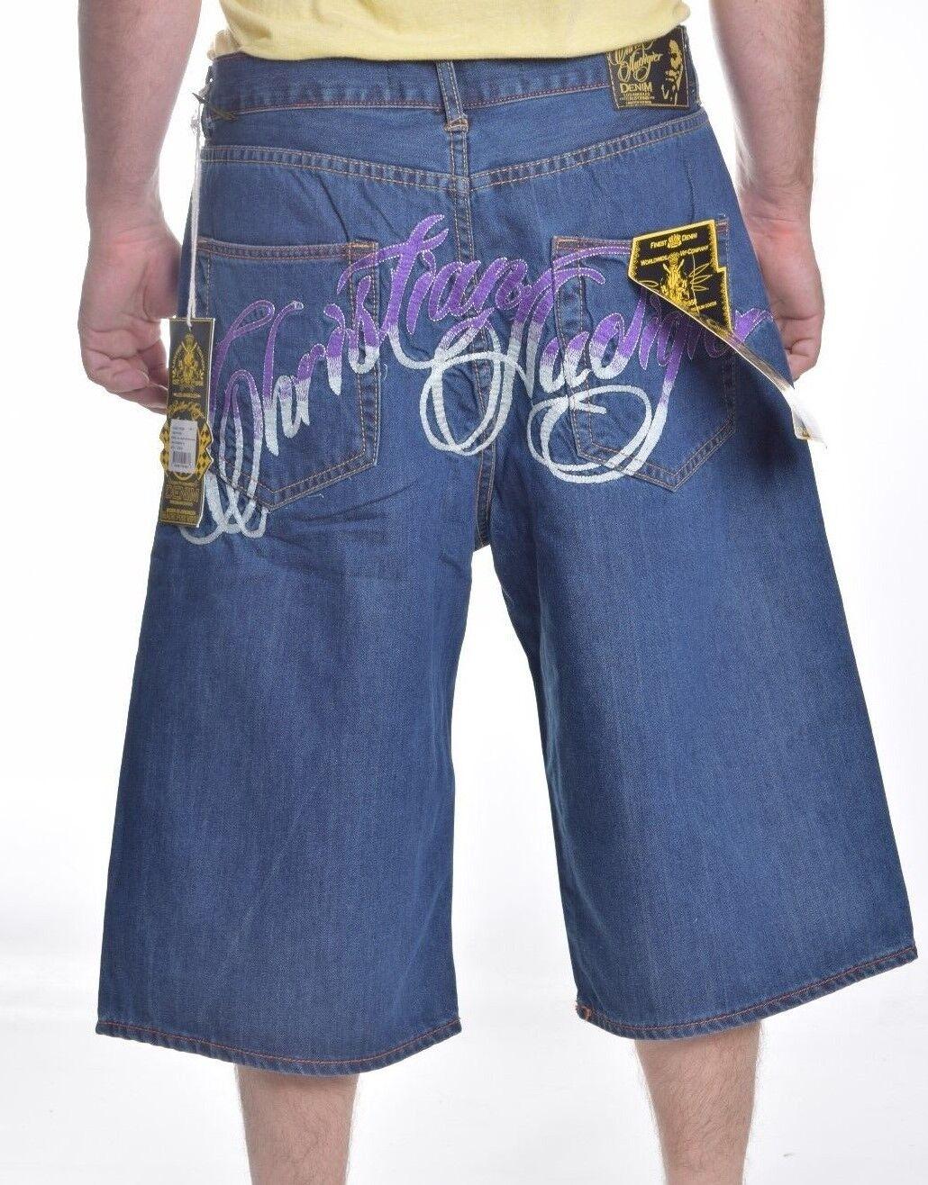 Christian Audigier Men's  bluee Button Fly Denim Shorts Choose Size