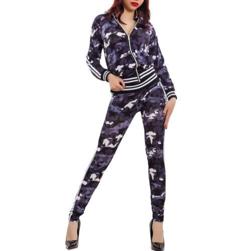 Tuta donna completo fitness sport traforata mimetica giacca zip pantaloni K5606