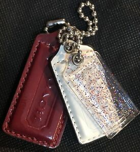 COACH-Poppy-Fob-Clear-Plastic-Sparkly-Glitter-Red-White-amp-Blue-Patent-Leather-NWOT