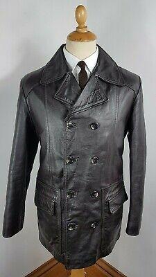 Umoristico Cappotto Giacca In Pelle Marrone Scuro Pea Coat Vintage Men's 1990s Grande 42 Regolare-mostra Il Titolo Originale