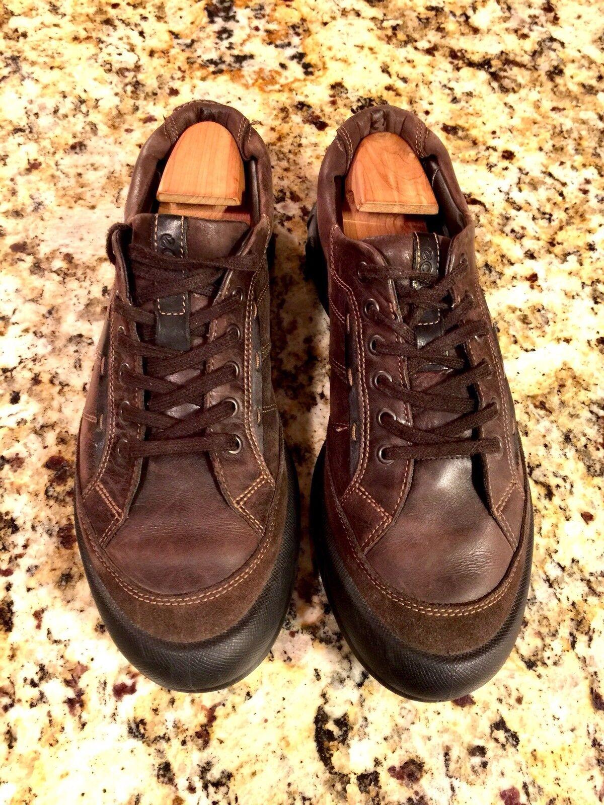 ECCO Rustic Dark Brown Cocoa Leather Suede Sneaker Mens 12-12.5