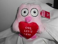 Goffa Int 'l Plush Pink Owl Luv U 4 Eva Heart Soft Cute Lovey 7