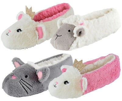 Girls 3D Novelty Plush Character Slippers Kids Mules Booties Shoes Xmas Gift