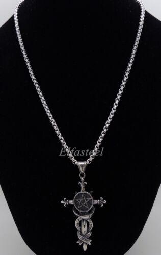 Gothic Pentacle Star Magic Sword Stainless Steel Men Pendant
