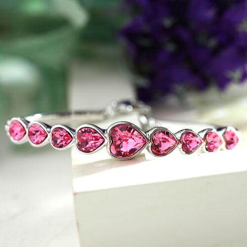 Women Heart Pink Sapphire Crystal Rhinestone Adjustable Bangle Bracelet Gift
