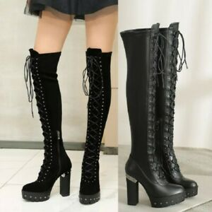 Block Heel Studded Spikes Goth Boots