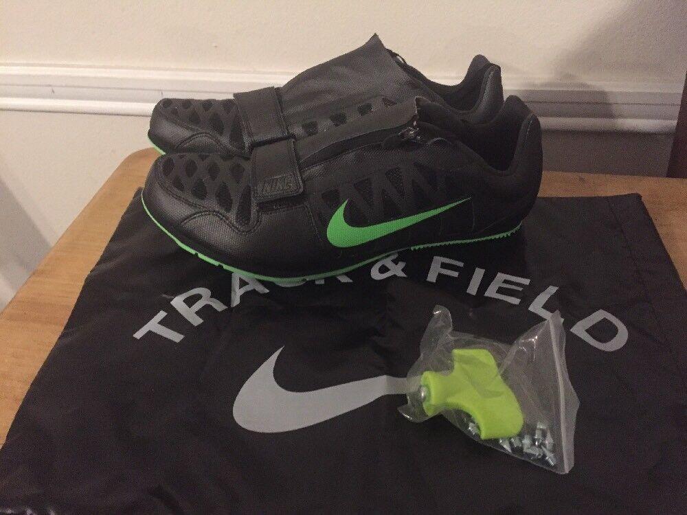 Nike Zoom LJ 4 Long Jump Shoes Spikes Black Volt 415339-035 Mens Sz 12 Track