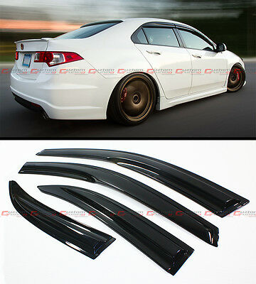 FOR 2009-14 ACURA TSX 4 DOOR SEDAN CU2 WAVY STYLE SMOKE WINDOW VISOR RAIN GUARD