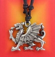 WELSH DRAGON Pendant Necklace Y Ddraig Goch Cymru celtic Pewter Jewellery