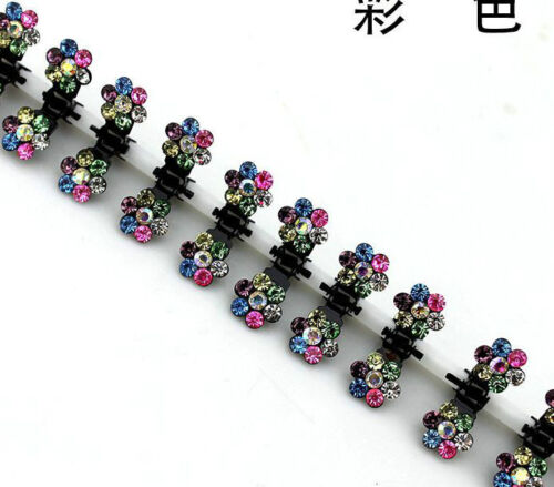 6//12 PCS Lots Girls Sweet Rhinestone Crystal Flower Mini Hair Claws Clips Clamps
