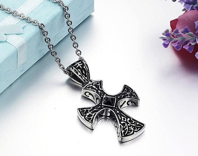 Gothic Collar Pendiente Colgante Cruz de acero inoxidable cristal macizo NUEVO