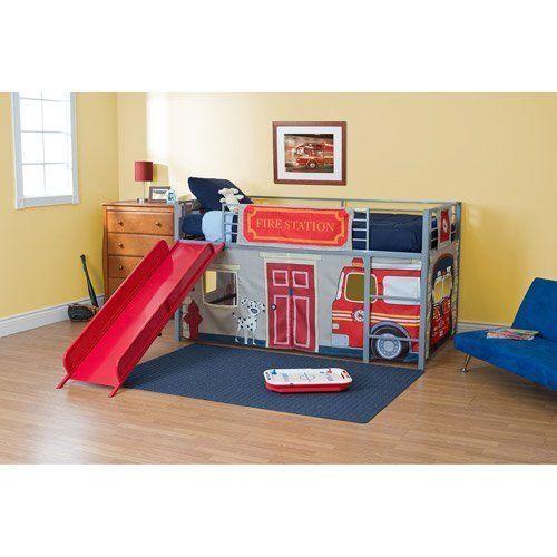 Boys Loft Bed Fire Department Bunkbed Slide Set Twin Kids Bedroom ...