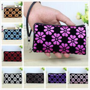Women Wallet Flower Printing Coin Purse Clutch Zipper Wallet Phone Key Tote Bags