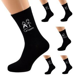 Mens Wedding Black Couple Socks Groom Best Man Usher Father of the Bride X6N821