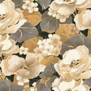 Wallpaper Large Abstract Shiny Gray Gold Cream Taupe Tan Black Floral
